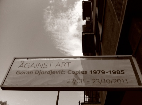 ...one of numerous art exhibitions which line Belgrade's streets